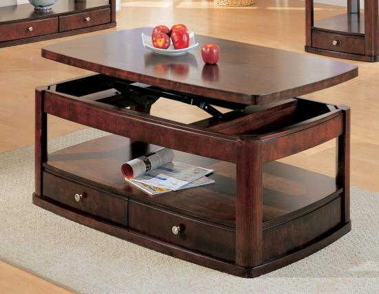 Lift top coffee table with storage drawers