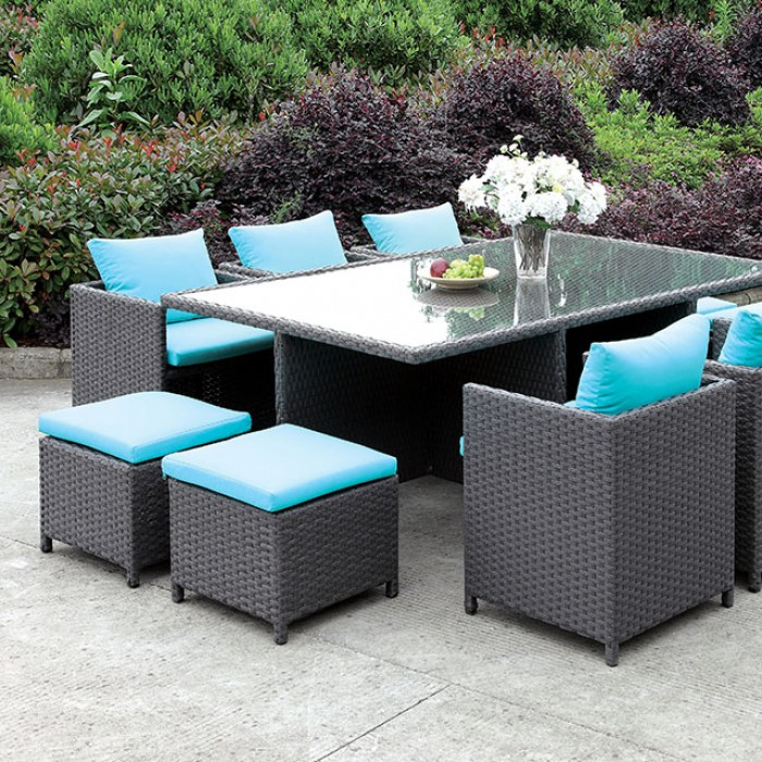 Dark Espresso Outdoor Patio Dining Set with light blue cushions