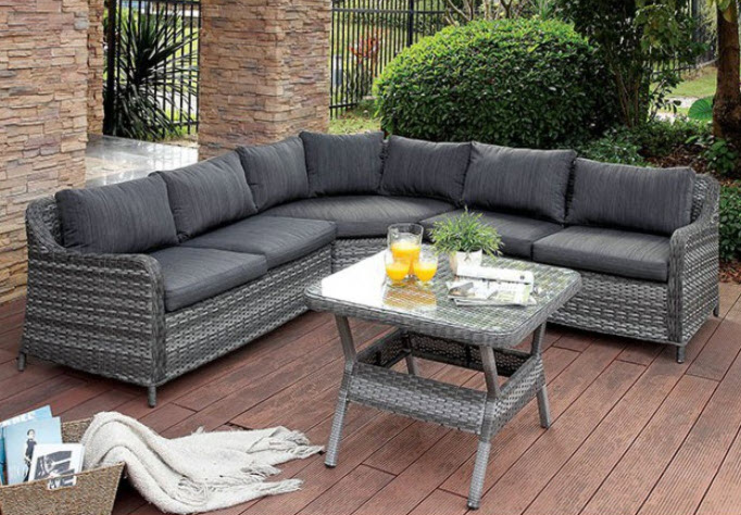 Silver-Grey Outdoor Wicker Patio Set