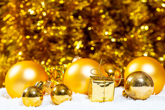 Gold Holiday Tree Ornaments