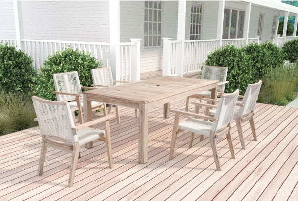 South Port White Wash Dining Patio Table