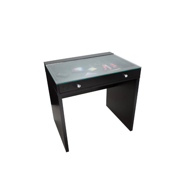 Slaystation Clear Top Black Mini Vanity Table