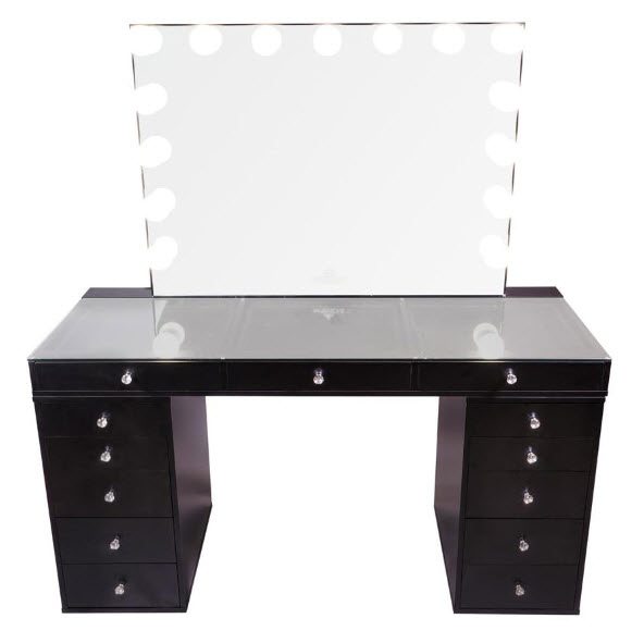 Slaystation Pro 2.0 Tabletop Glow Pro Vanity Mirror Drawer Units Bundle in Black