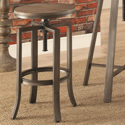 Industrial Bar Stool With Swivel Adjustable Height Mechanism Set Of - Adjustable height table mechanism