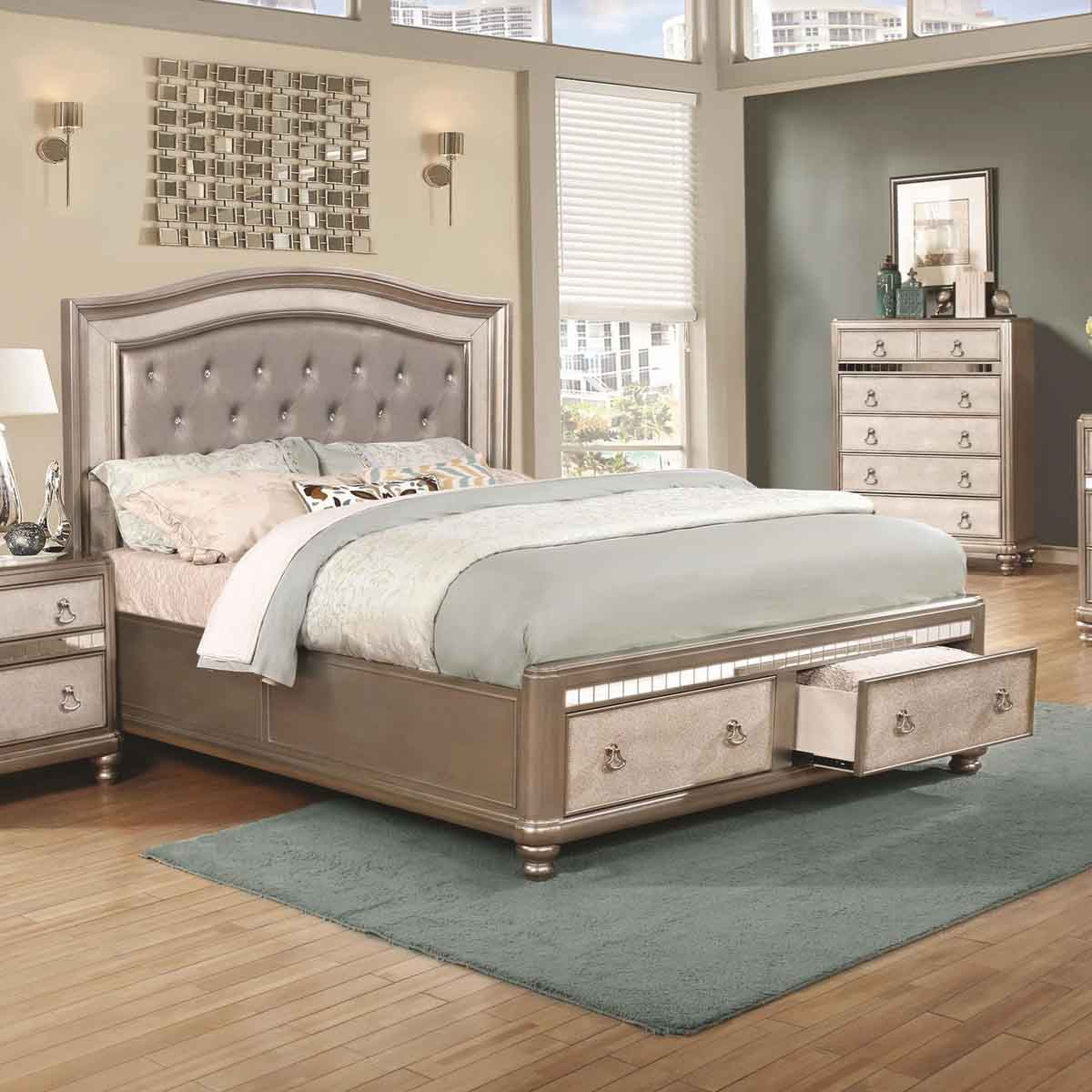 Bling Game Upholstered Bed With Storage Footboard