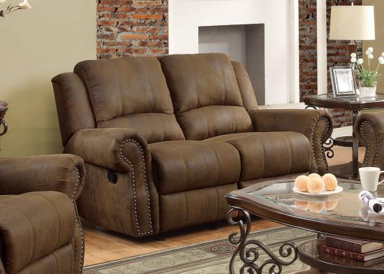 Sir Rawlinson Traditional Microfiber Reclining Sofa With Nailhead Studs.  Sofa. Loveseat