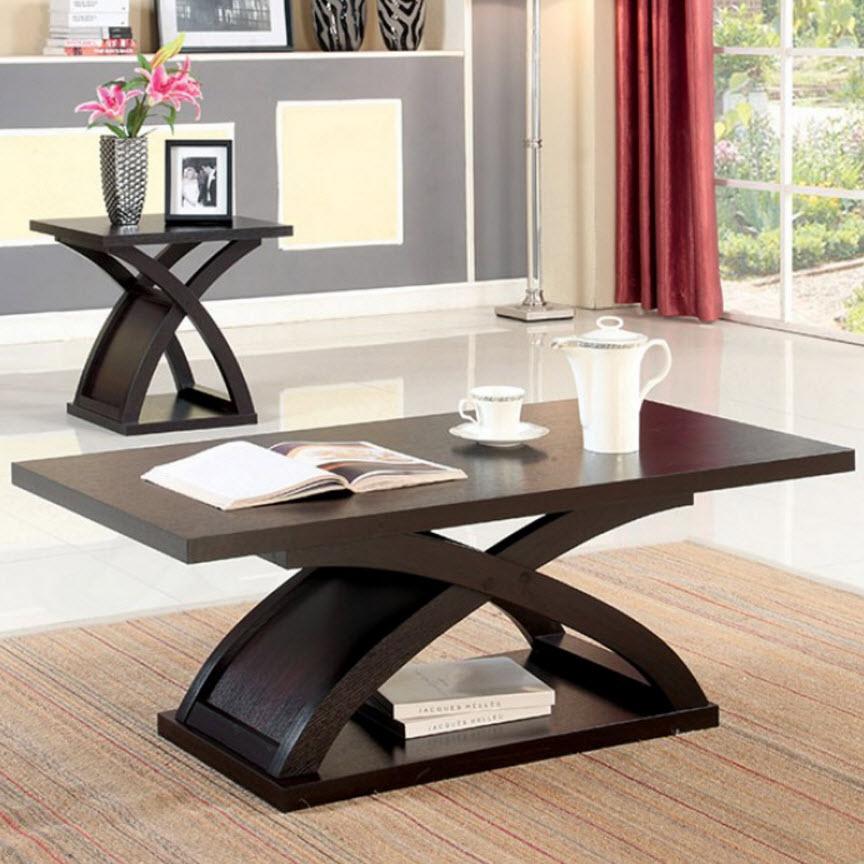 Arkley coffee table for Furniture of america architectural inspired dark espresso coffee table