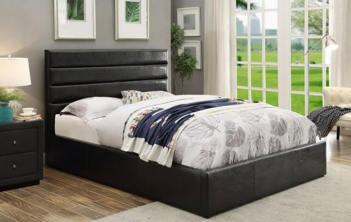 Riverbend Black Leatherette Upholstered Bed with Lift Top Storage