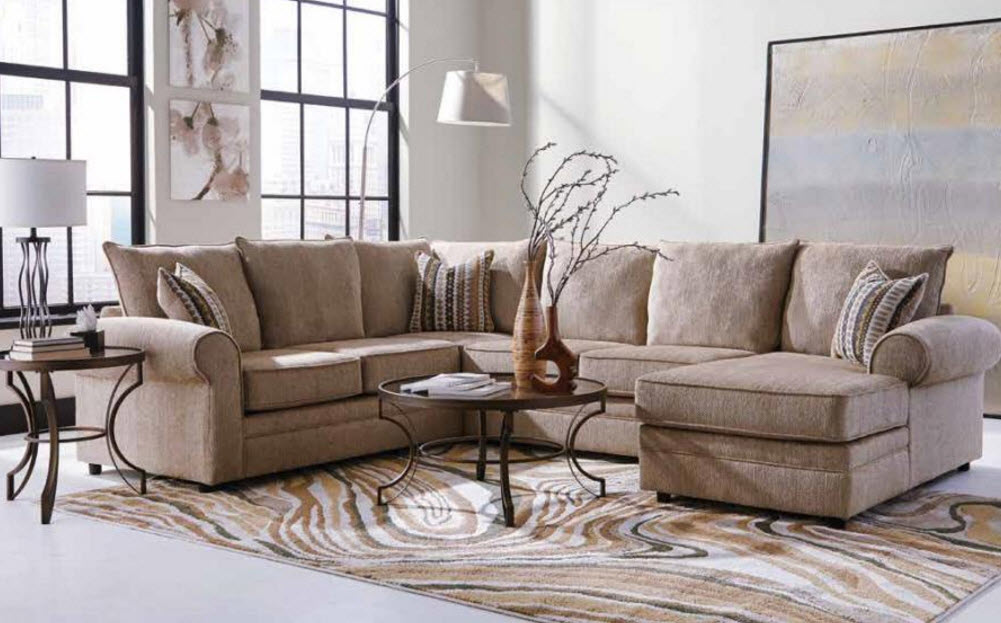 Fairhaven cream colored u shaped sectional with chaise for Living room furniture san diego