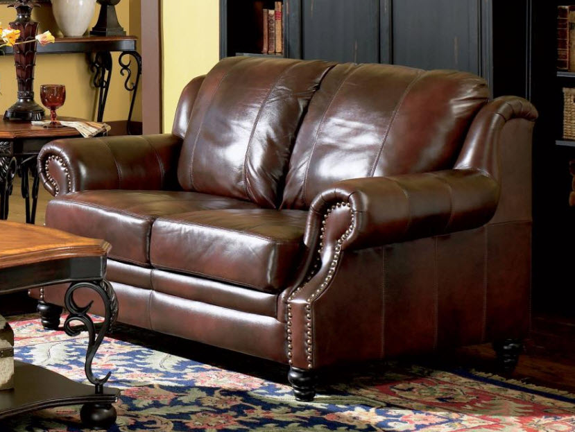 Princeton Rolled Arm Leather Sofa