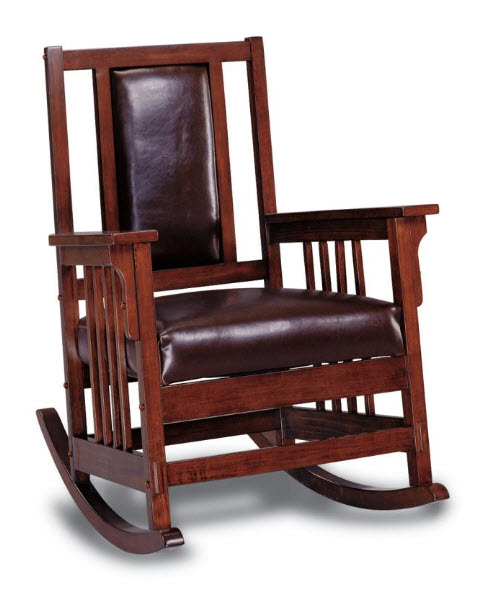 Rockers Mission Style Wood Rocking Chair With Leather Match Seat And Back