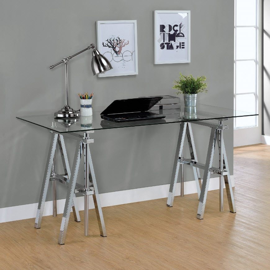 Adjustable writing desk with sawhorse legs Sawhorse desk legs