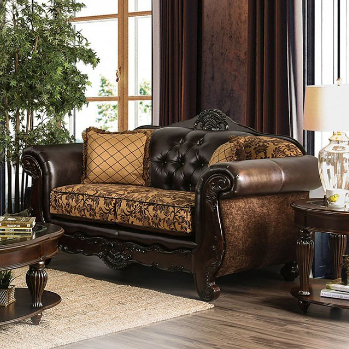 Tan/Dark Brown Loveseat