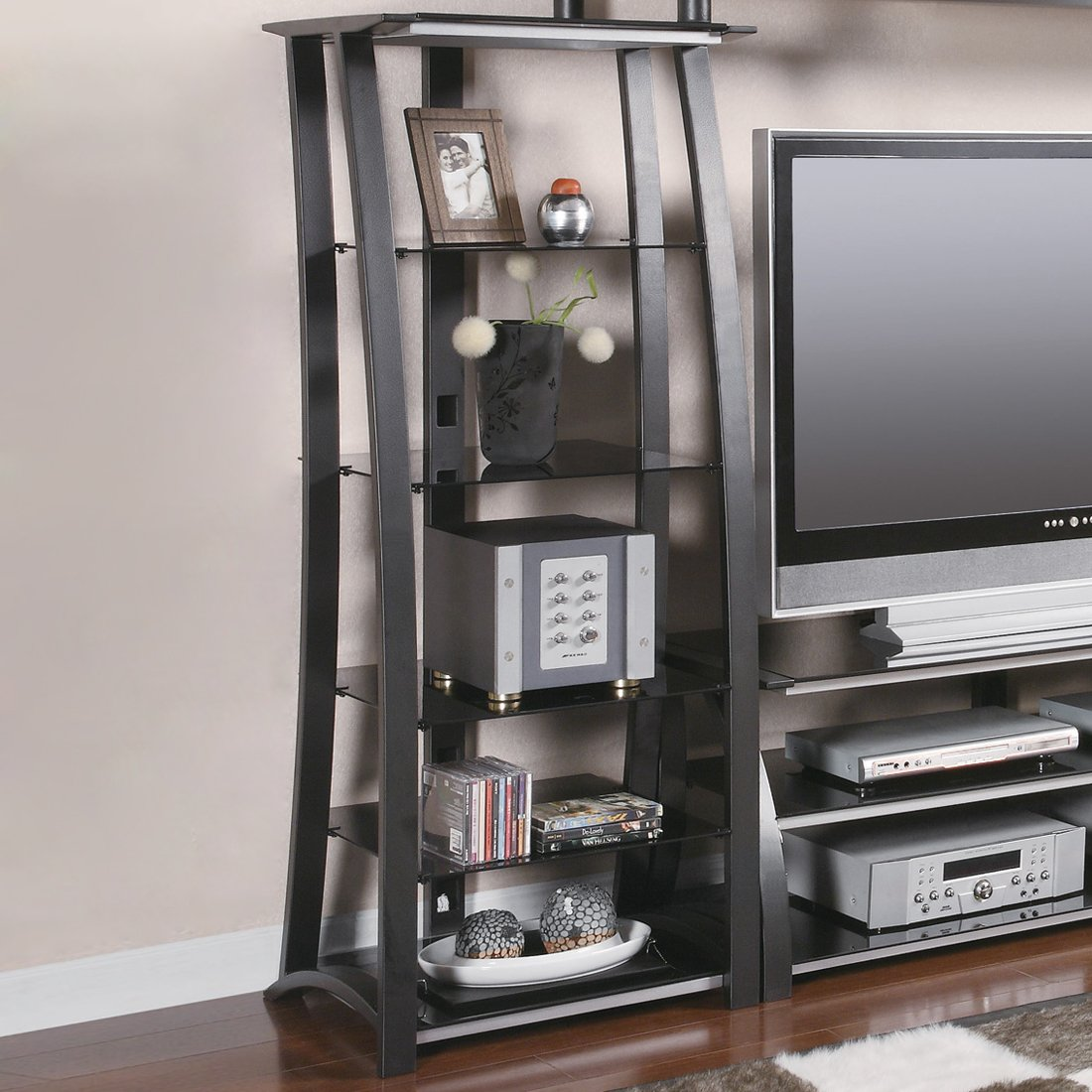 Open Media Tower With 5 Shelves