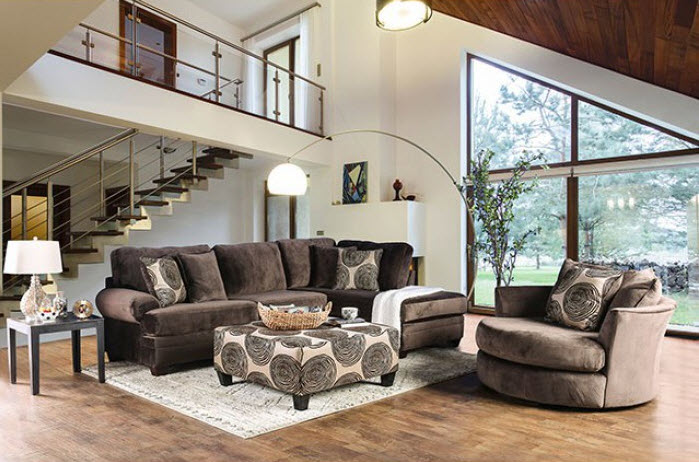 Brown Sectional Custom Set