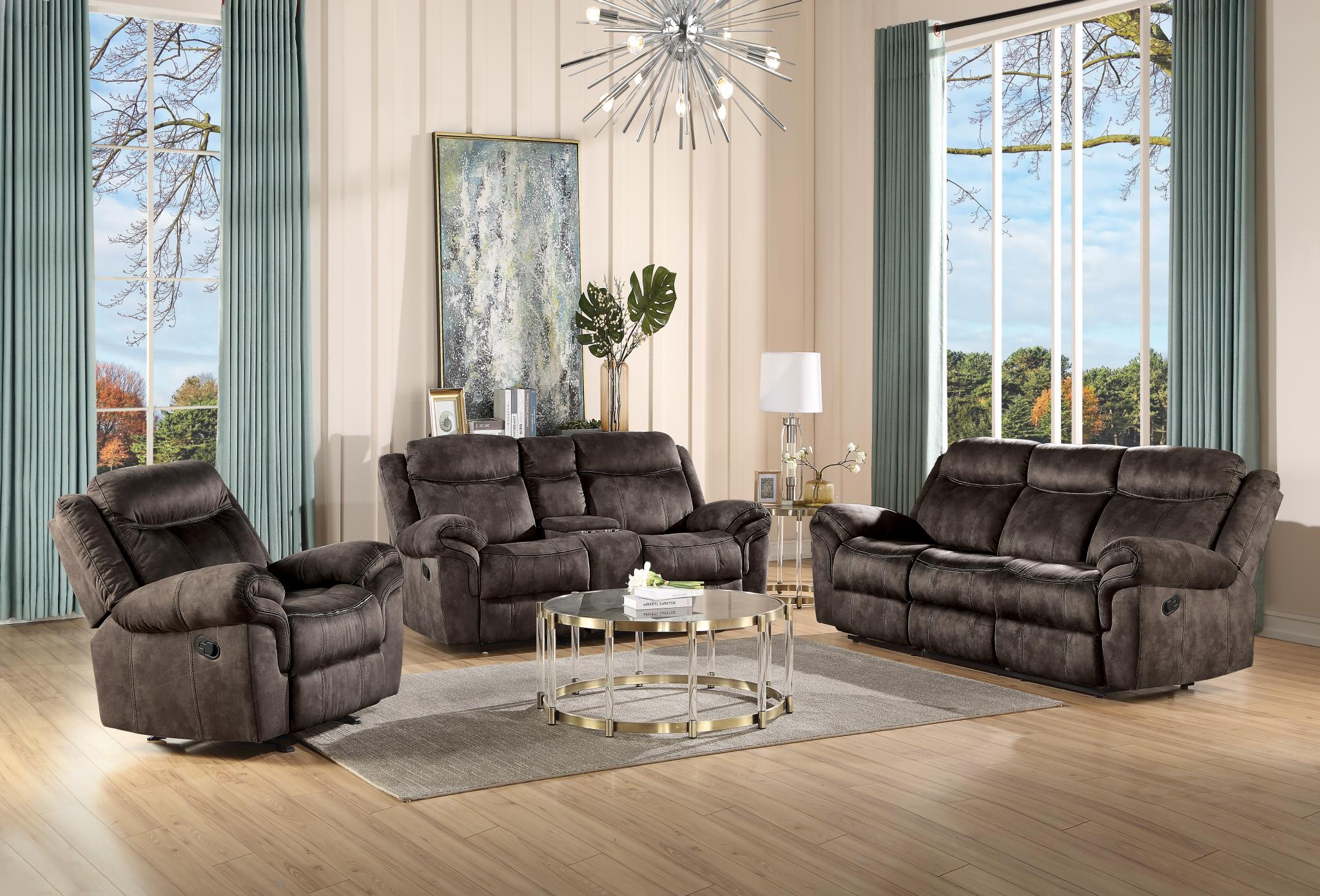 Two Tone Chocolate Complete Reclining Sofa Set