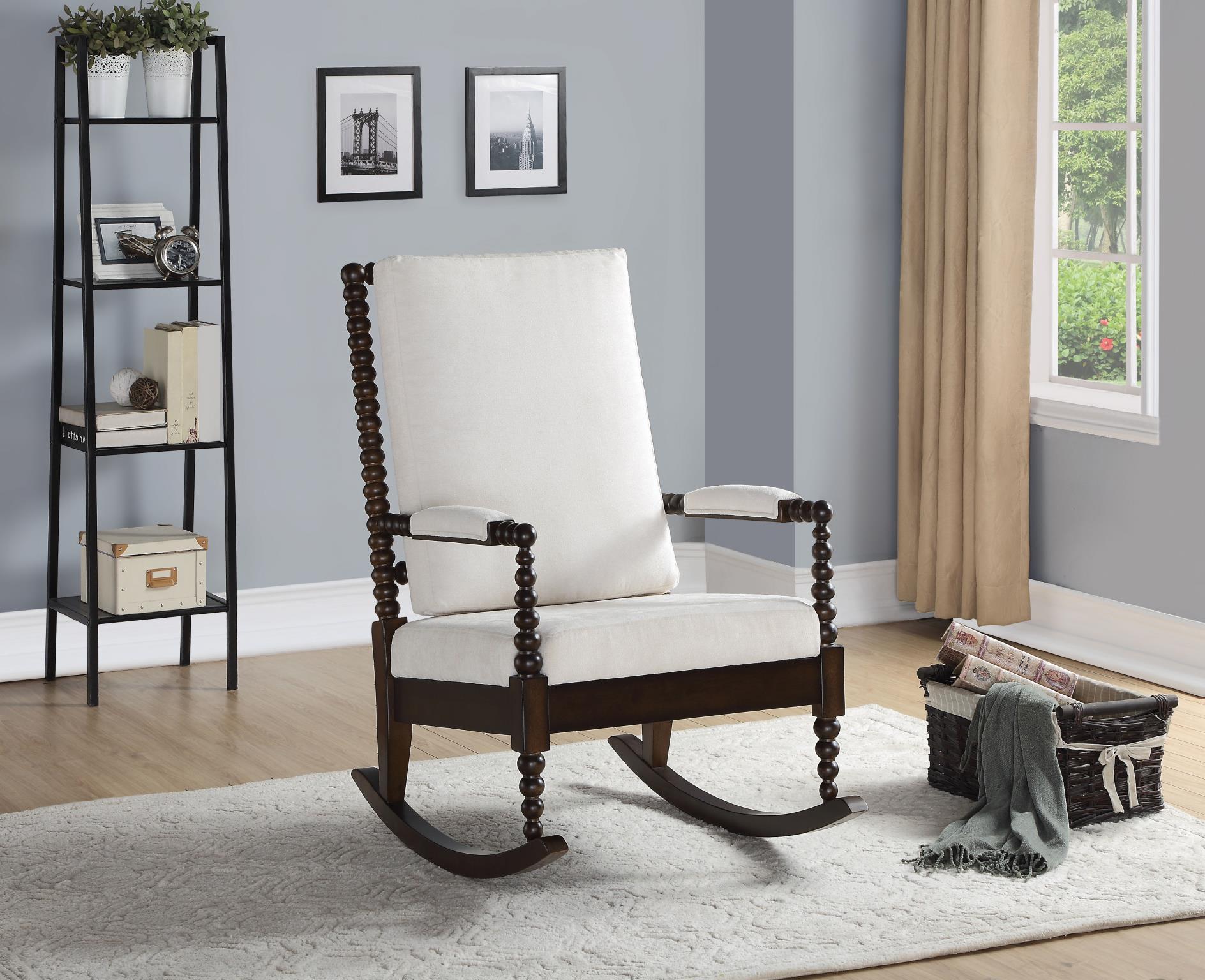 Walnut & Cream Fabric Rocker Chair