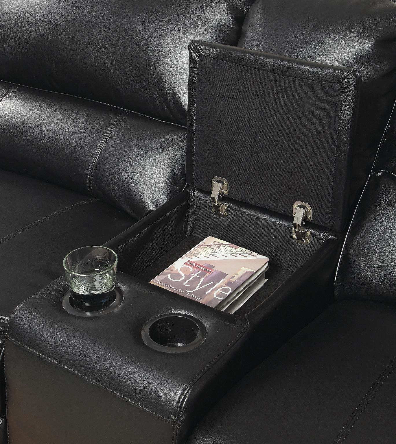 Black Console w/ Cup Holders & Storage
