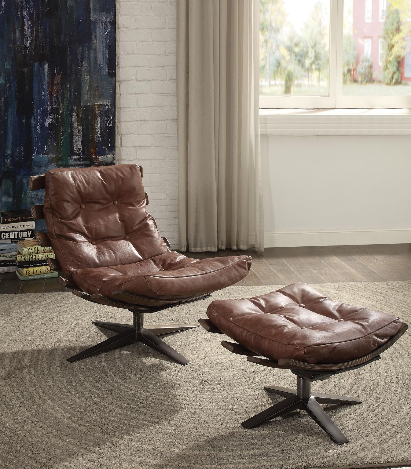 Brown Swivel Chair and Ottoman