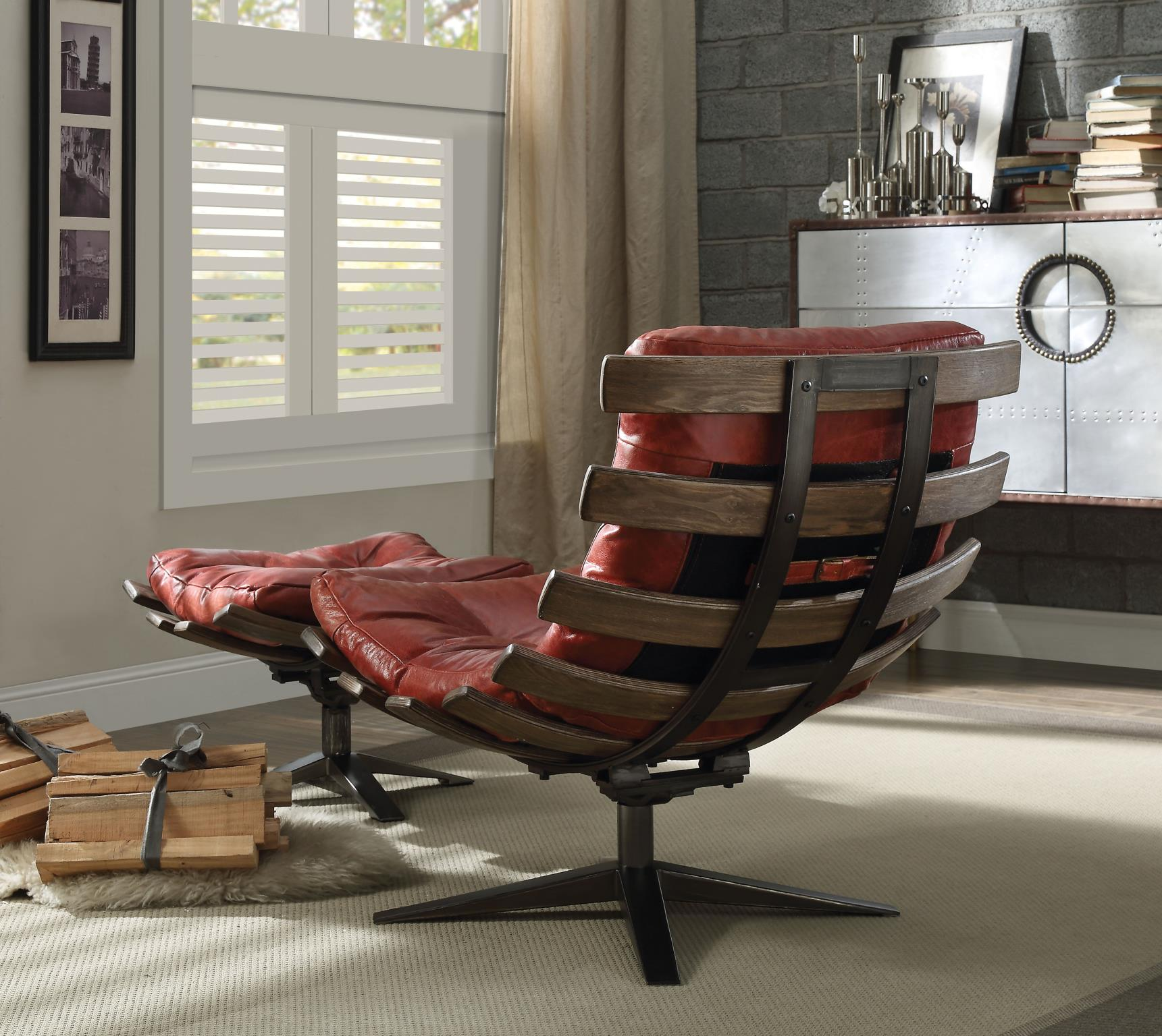 Antique Red Swivel Chair and Ottoman Back View