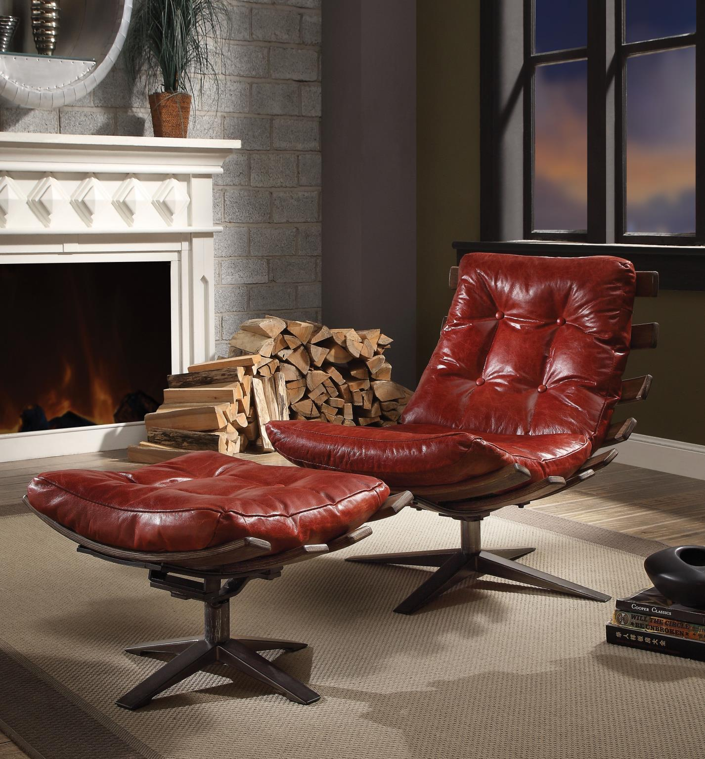 Antique Red Swivel Chair and Ottoman