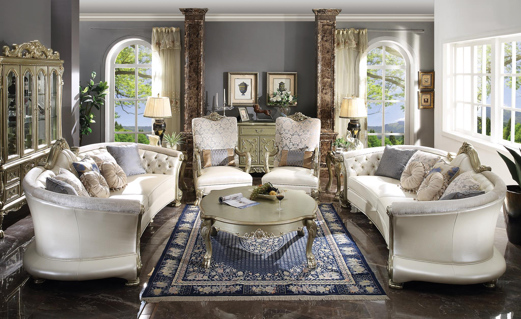 Complete Sofa Set w/ 2 Sofas, 2 Accent Chairs, Coffee Table and 2 End Tables