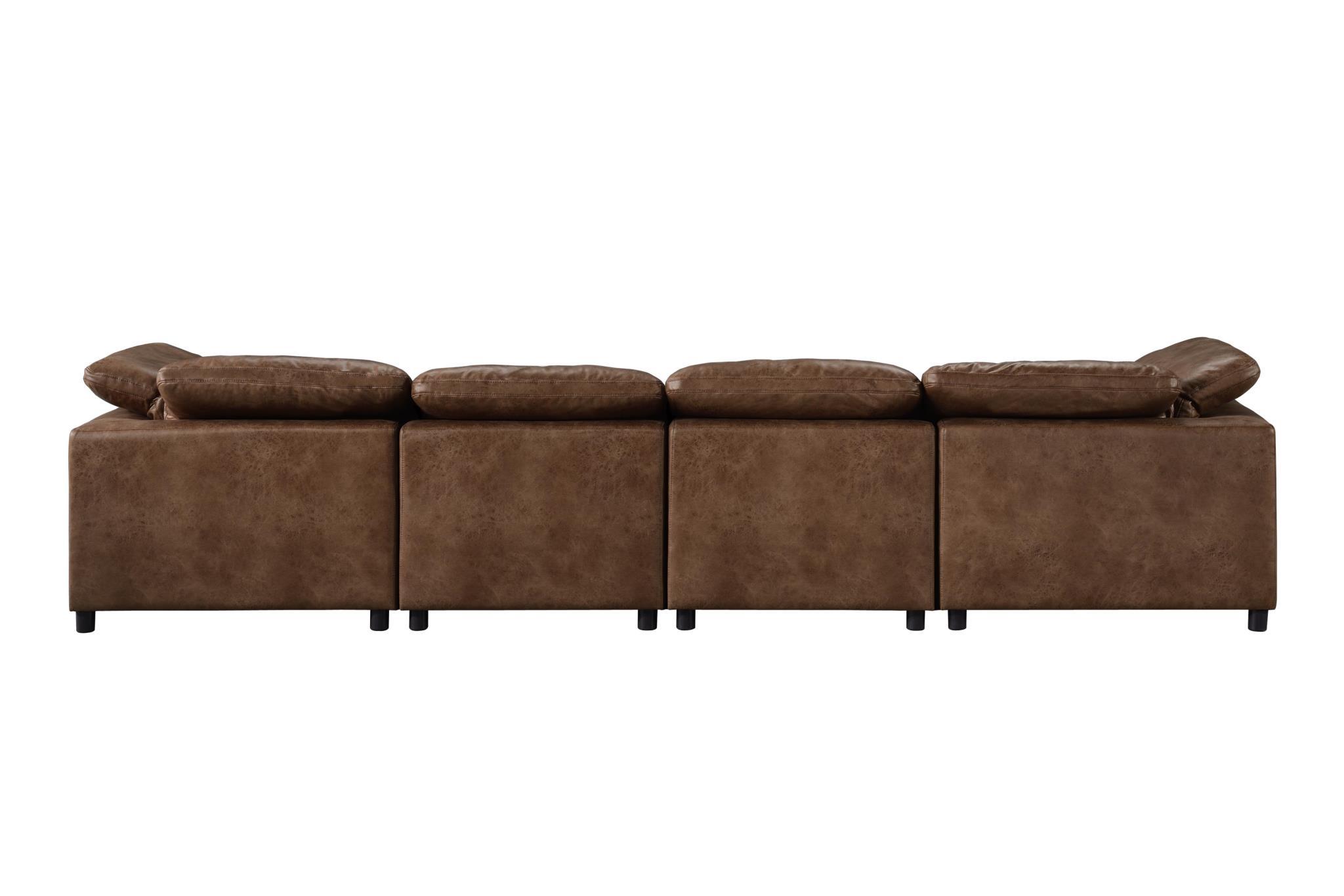 2-Tone Mocha Sectional Sofa Back
