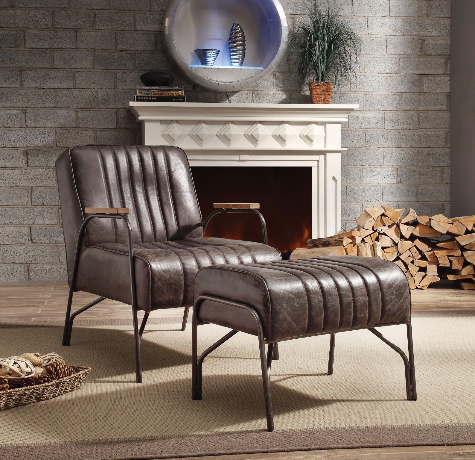 Distress Espresso Chair and Ottoman