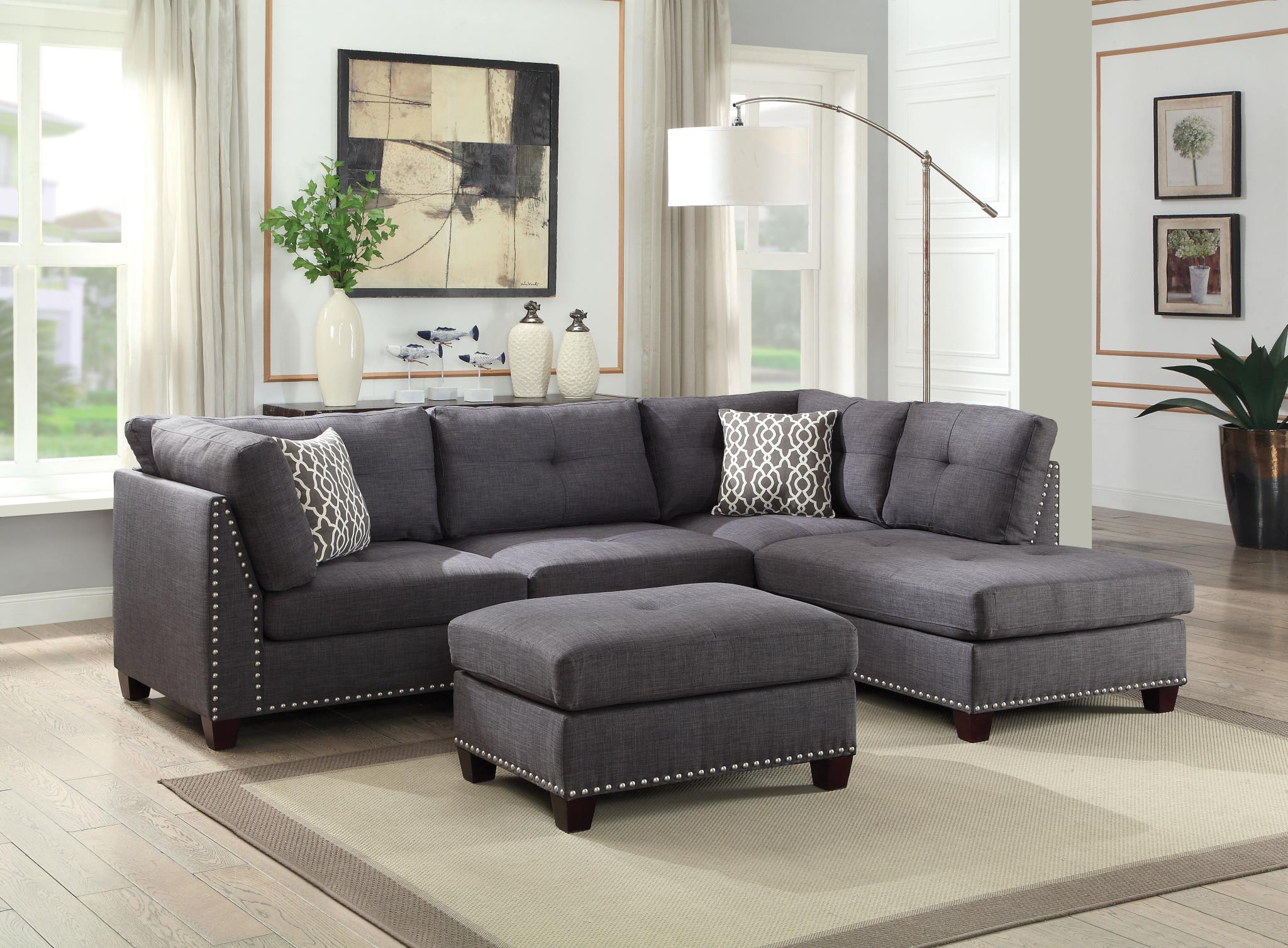 Complete Sectional Sofa w/ Right Facing Chaise and Ottoman