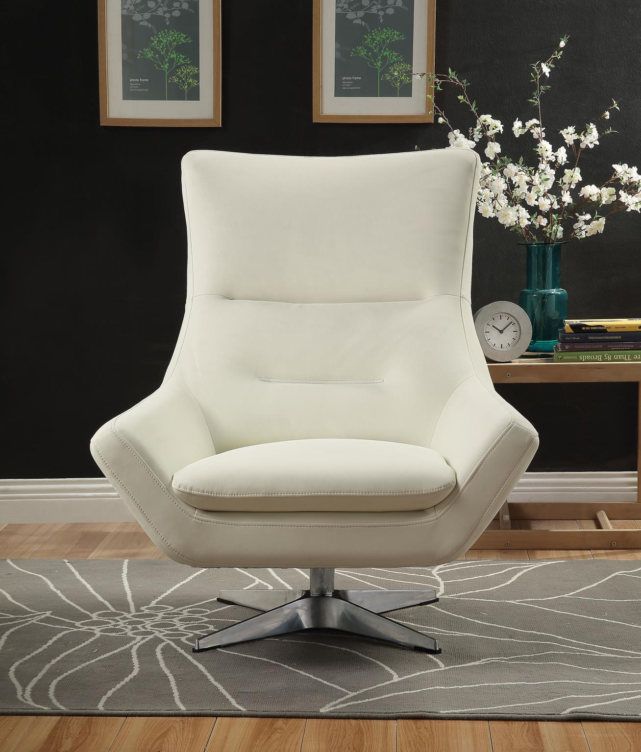 White Accent Chair Front
