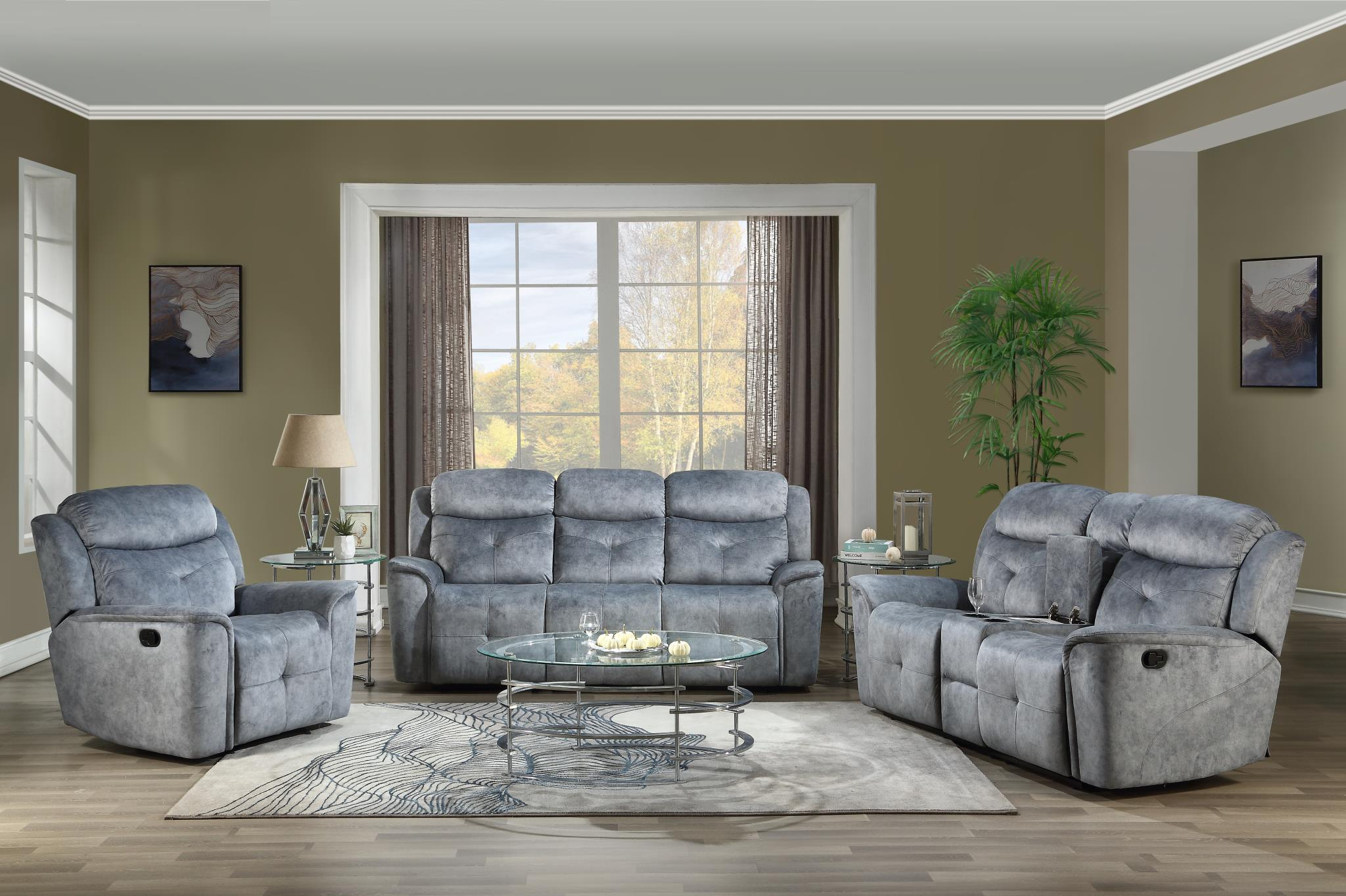 Silver Gray Fabric Complete Reclining Sofa Set