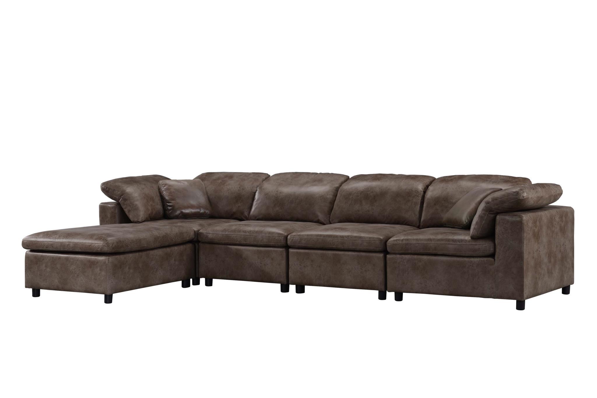 2-Tone Brown Stone Sectional Sofa Angle