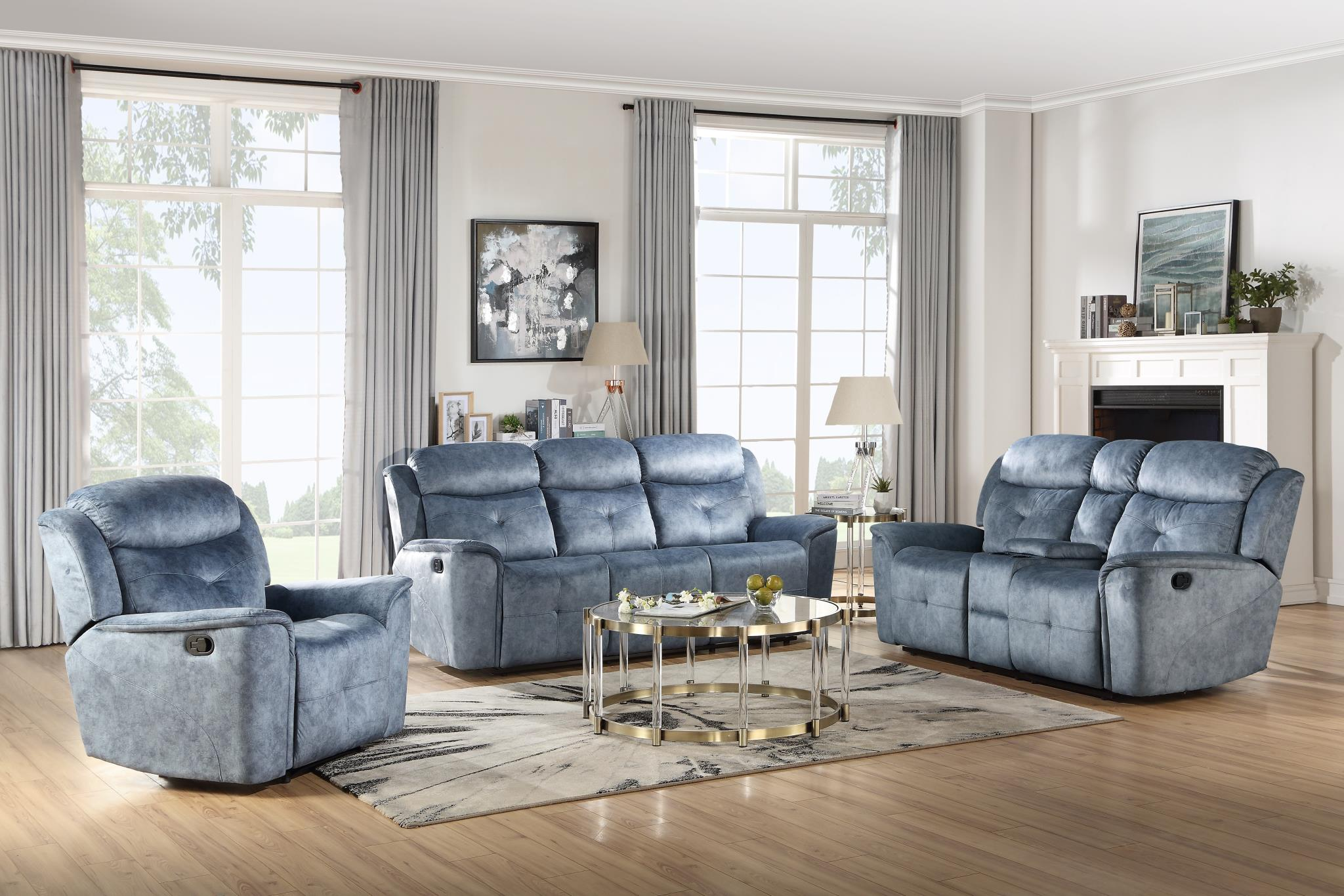 Silver Blue Fabric Complete Reclining Sofa Set