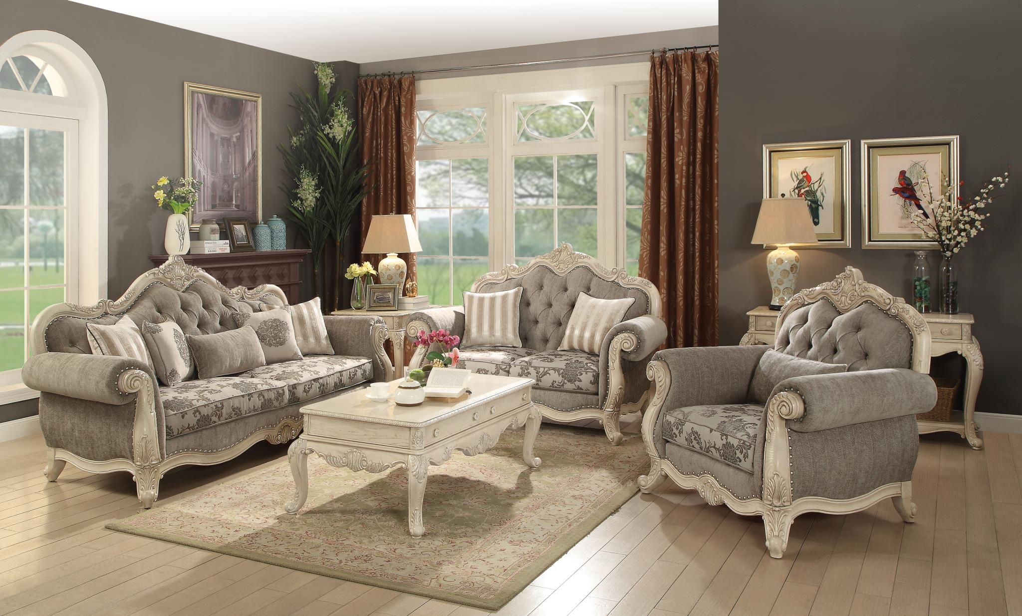 Gray & Antique White Complete Sofa Set