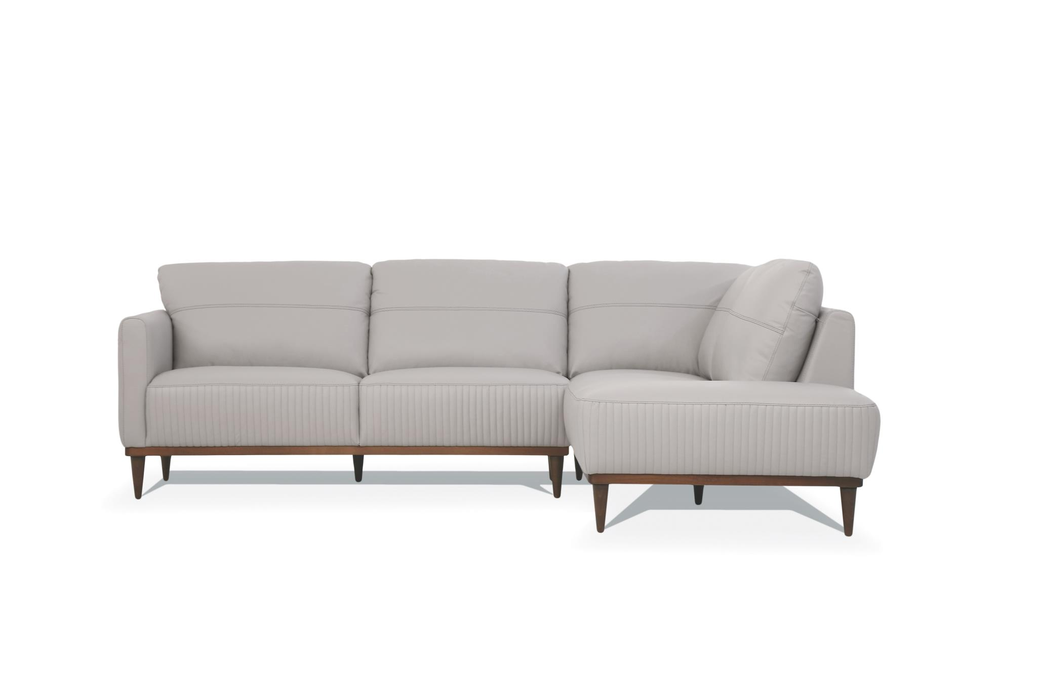 Pearl Gray Sectional Sofa w/ Right Facing Chaise Front