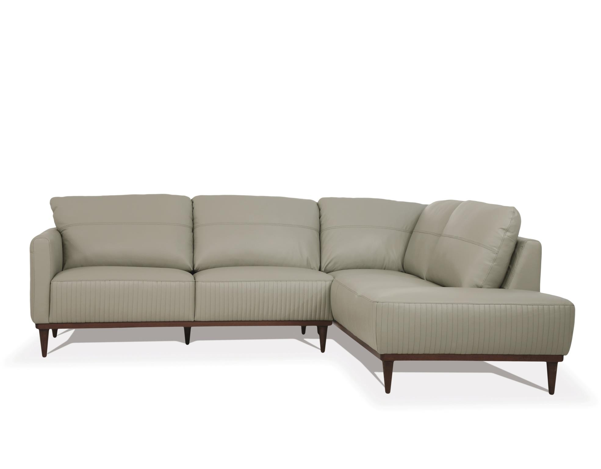 Airy Green Sectional Sofa w/ Right Facing Chaise