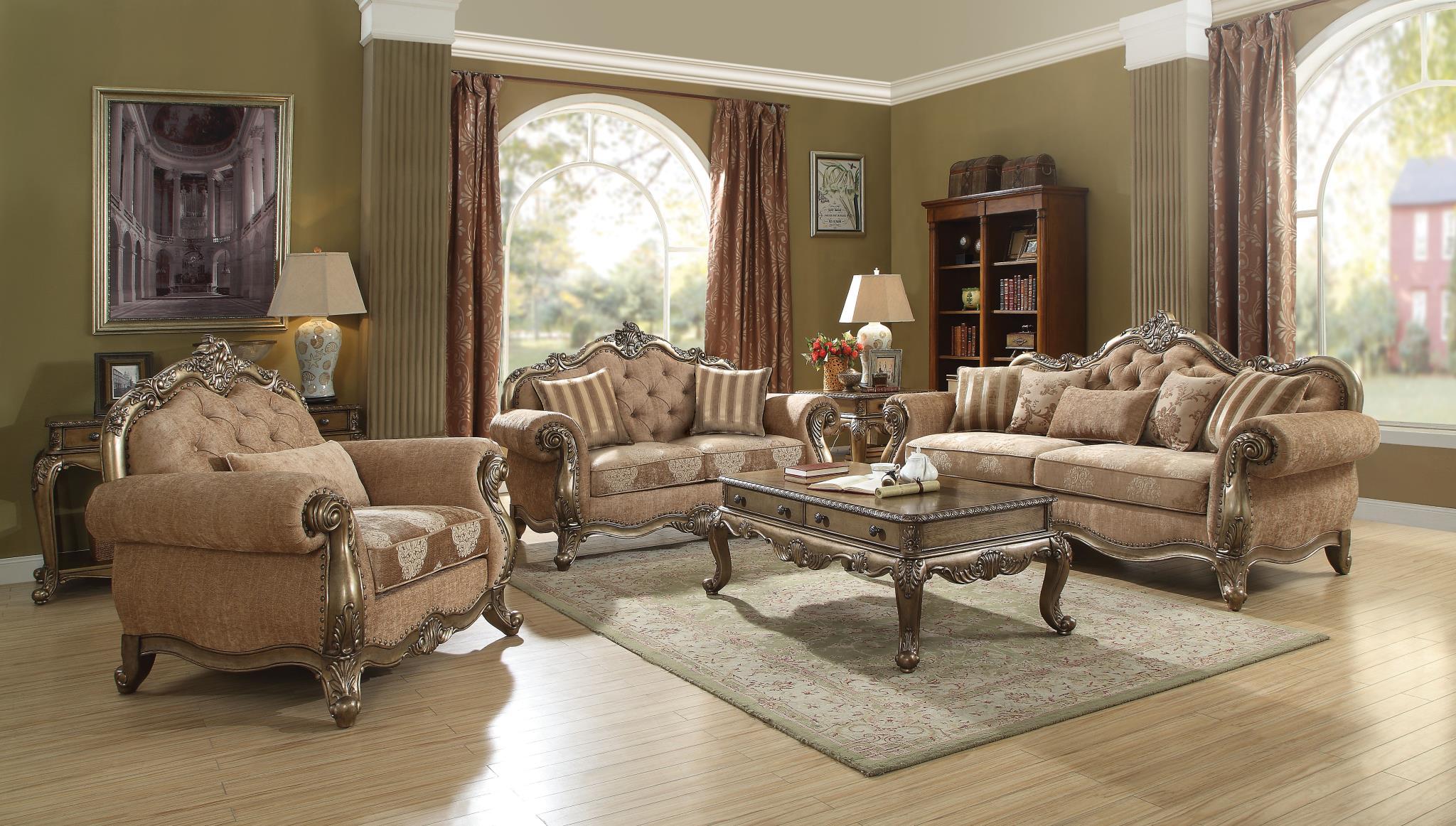 Vintage Oak Complete Sofa Set