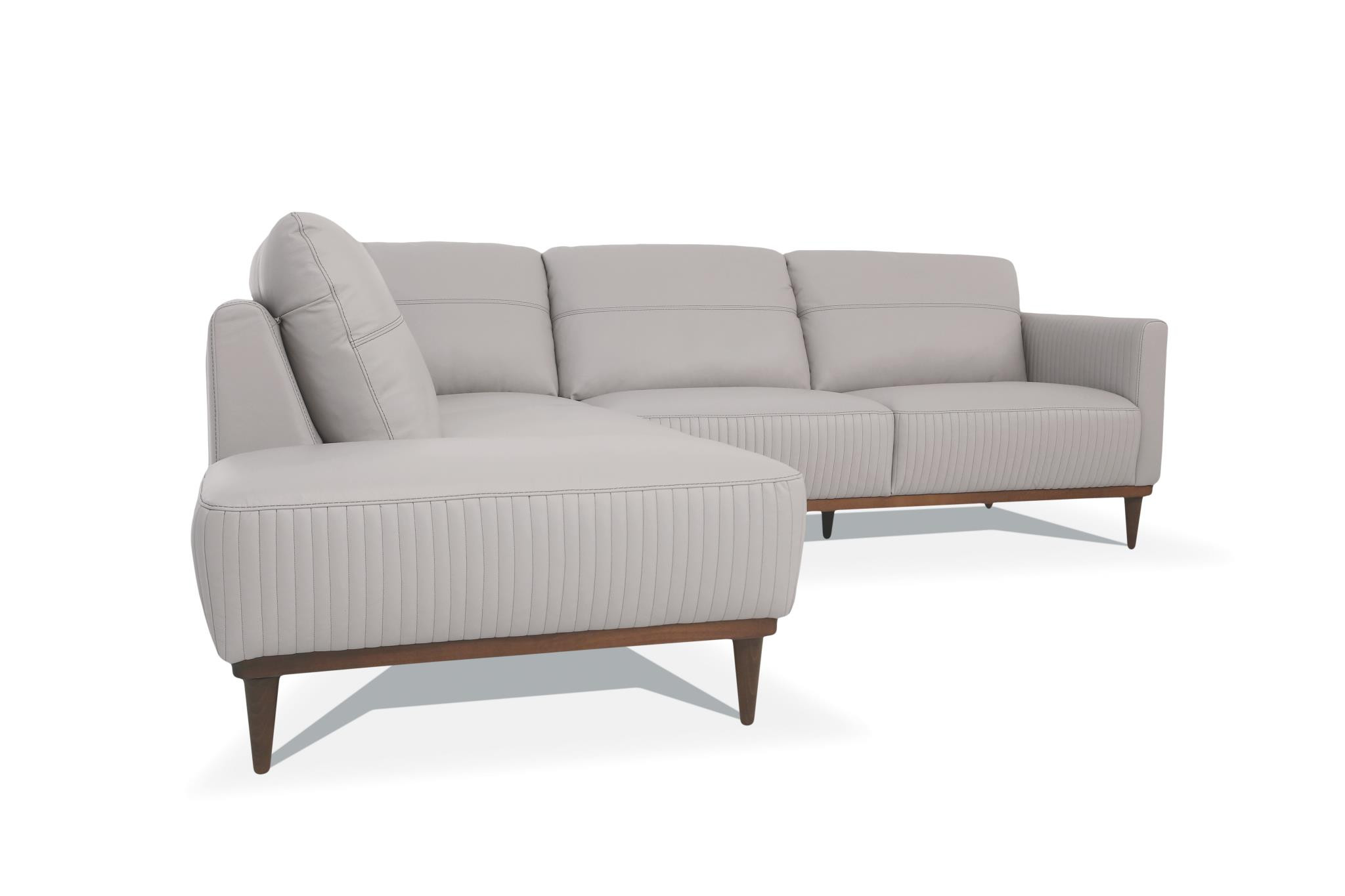 Pearl Gray Sectional Sofa w/ Left Facing Chaise Side