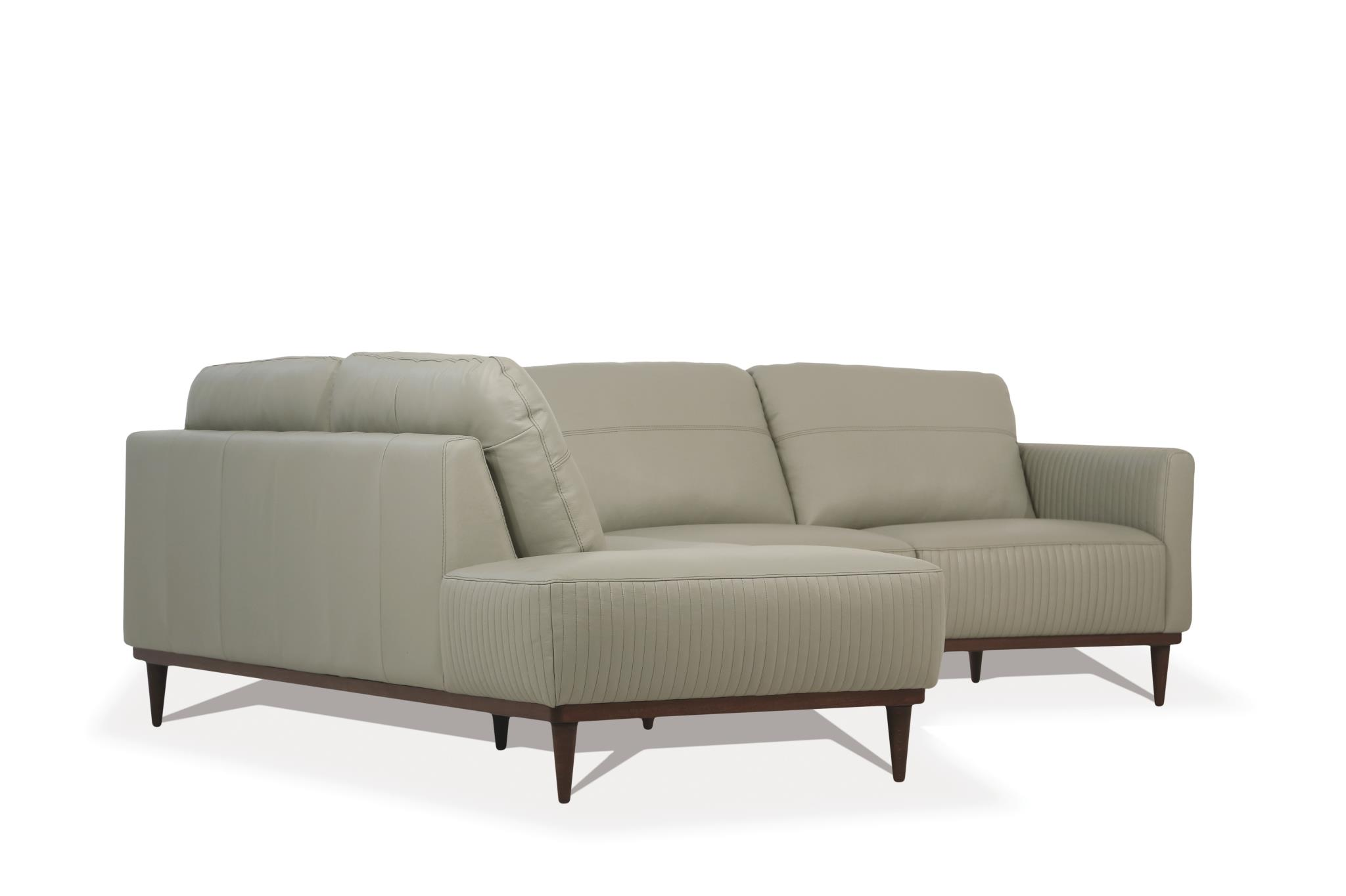 Airy Green Sectional Sofa w/ Left Facing Chaise Side Angle