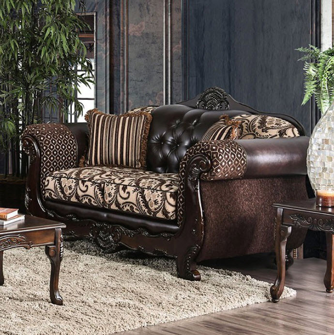 Light Brown/Dark Brown Loveseat