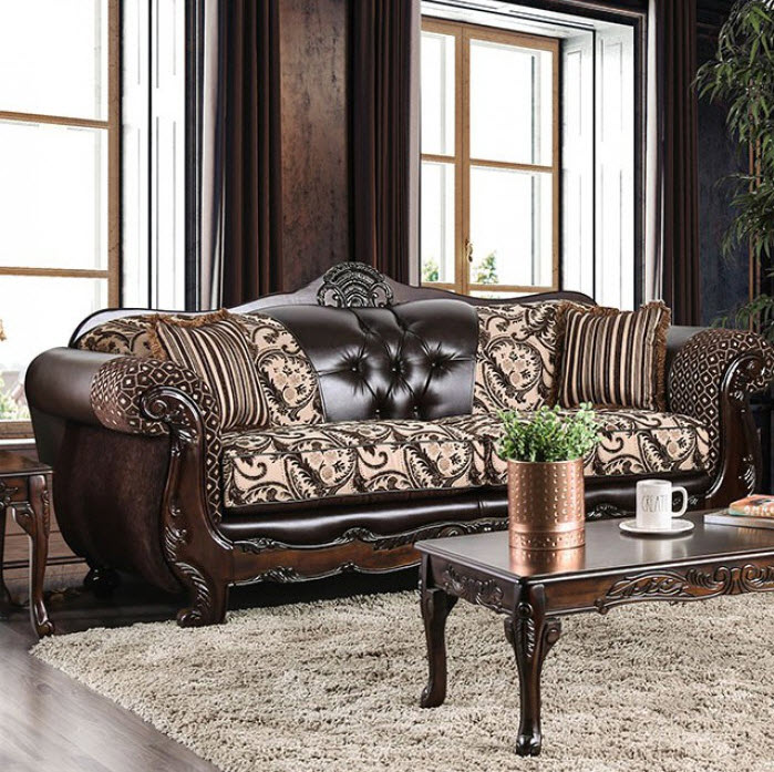 Light Brown/Dark Brown Sofa