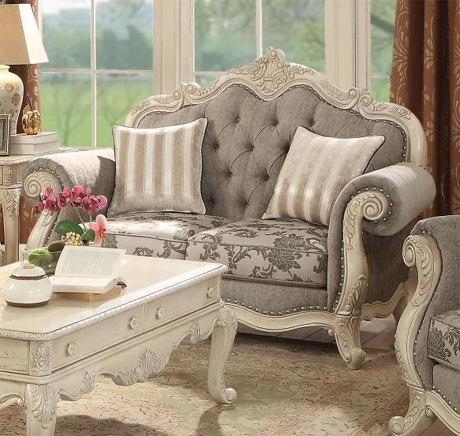 Gray & Antique White Loveseat