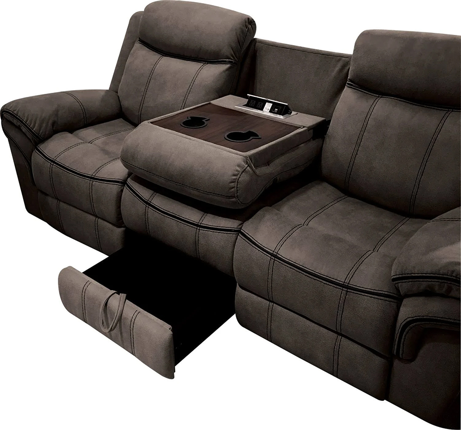 Two Tone Chocolate Reclining Sofa Drop Down Middle Console and Storage