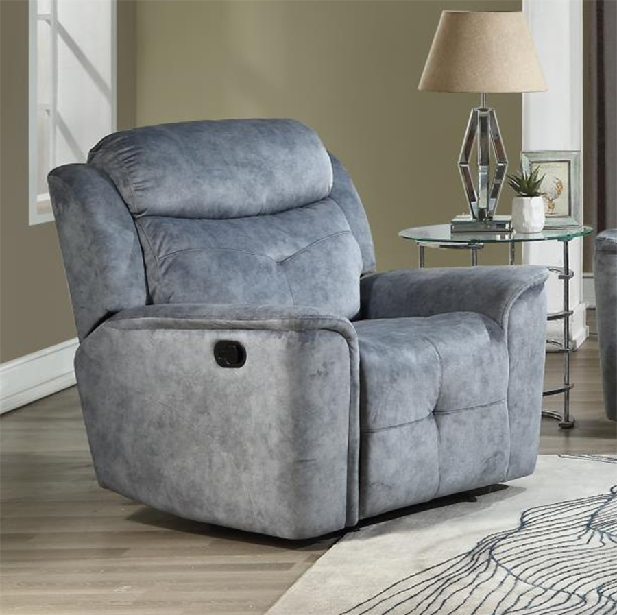 Silver Gray Fabric Recliner