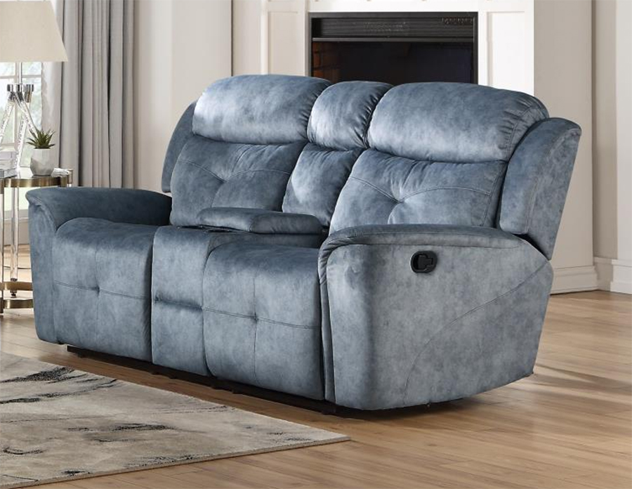 Silver Blue Fabric Reclining Loveseat