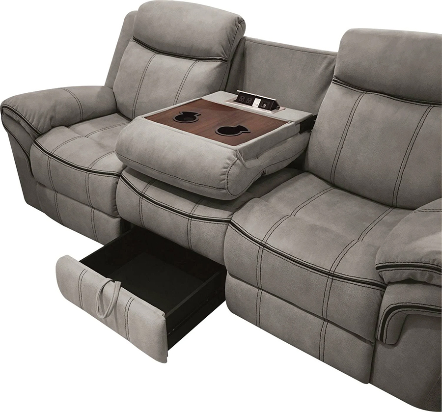 Two Tone Gray Reclining Sofa Drop Down Middle Console and Storage