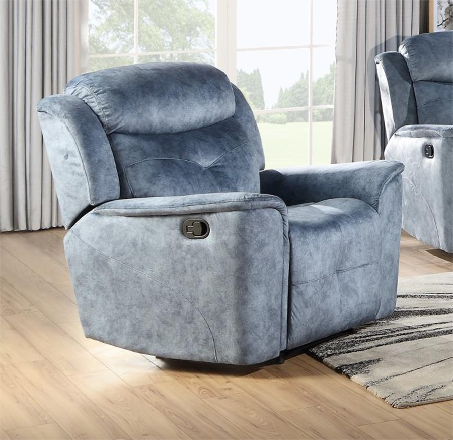 Silver Blue Fabric Recliner