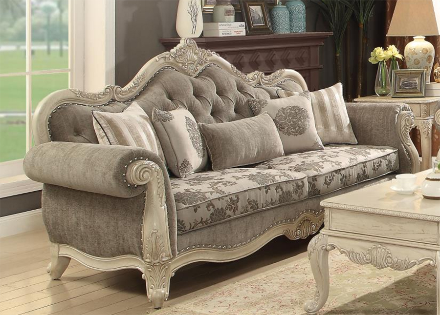 Gray & Antique White Sofa