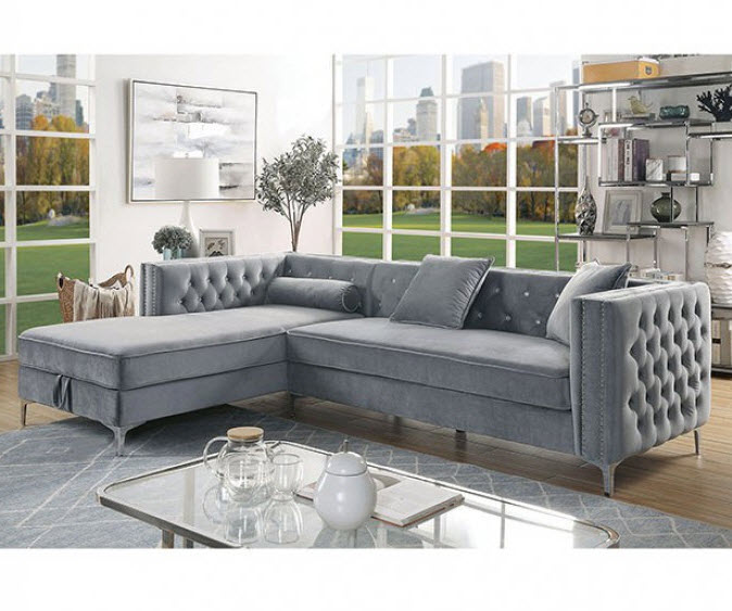 Amie Button Tufted Sectional Sofa