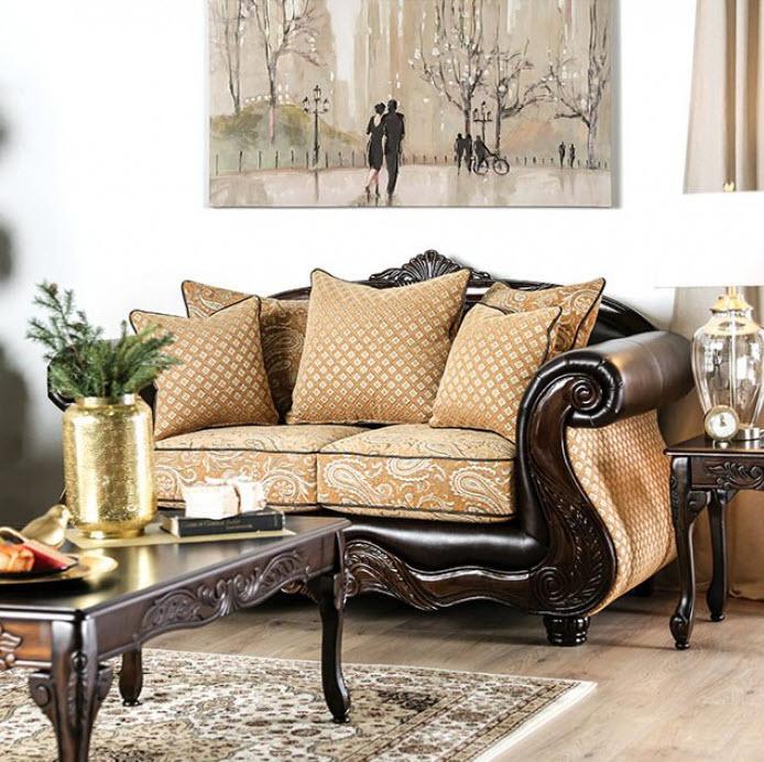 Aislynn Traditional Style Victorian Print Sofa